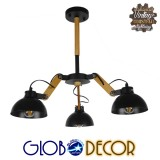 Μοντέρνο Industrial Φωτιστικό Οροφής Τρίφωτο Μαύρο Μεταλλικό με Φυσικό Ξύλο Καμπάνα Φ75 GloboStar OLD SCHOOL 01093