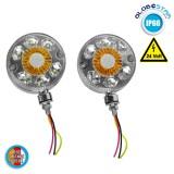 Σετ Πλευρικά Φώτα Σήμανσης Σκουλαρίκια 2 Πλευρών για Φορτηγό 24 Volt A Πλευρά: Λευκό-Κίτρινο Β Πλευρά: Κίτρινο-Κόκκινο GloboStar 75474