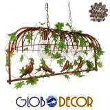 Vintage Industrial Κρεμαστό Φωτιστικό Οροφής Τρίφωτο Καφέ Σκουριά Μεταλλικό Πλέγμα GloboStar ARMONIA 01648