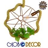 Vintage Industrial Κρεμαστό Φωτιστικό Οροφής Μονόφωτο Πλέγμα Καφέ Σκουριά με Μπεζ Σχοινί GloboStar Φ42 PETUNIA 01661