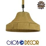 Vintage Κρεμαστό Φωτιστικό Οροφής Μονόφωτο Καμπάνα με Μπεζ Σχοινί Φ41 GloboStar DOGMA 01609