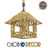 Vintage Κρεμαστό Φωτιστικό Οροφής Μονόφωτο Πλέγμα με Μπεζ Σχοινί Φ43 GloboStar SPIKY 01613