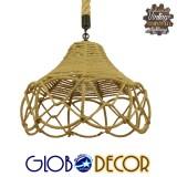 Vintage Κρεμαστό Φωτιστικό Οροφής Μονόφωτο Πλέγμα με Μπεζ Σχοινί Φ39 GloboStar TESSUTI 01614