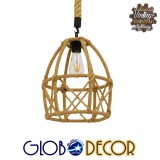 Vintage Κρεμαστό Φωτιστικό Οροφής Μονόφωτο Πλέγμα με Μπεζ Σχοινί Φ30 GloboStar TELAN 01615