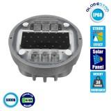 Χωνευτός Ανακλαστήρας Οδοστρώματος LED με Φωτοβολταϊκό Πάνελ & Μπαταρία NI-MH 1200Mah Ψυχρό Λευκό 6000k GloboStar 32201