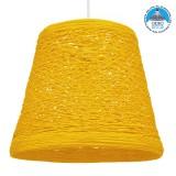 Vintage Κρεμαστό Φωτιστικό Οροφής Μονόφωτο Κίτρινο Ξύλινο Ψάθινο Rattan Φ32 GloboStar PLAYROOM YELLOW 00998