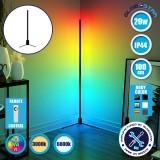 Μοντέρνο Minimal Επιδαπέδιο Μαύρο Φωτιστικό 100cm LED 20 Watt με Ασύρματο Χειριστήριο Αφής 2.4G RF & Dimmer RGBW+WW Πολύχρωμο - Ψυχρό - Ημέρας - Θερμό GloboStar ALIEN Design GLOBO-100-9