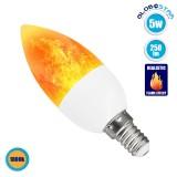 GloboStar® 76074 Λάμπα E14 C37 Διακοσμητικό Κεράκι LED 5W 250lm 320° AC 85-265V με 2 Λειτουργίες Εφέ Φλόγας Θερμό Λευκό 1800K