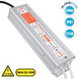 GloboStar® 73053 Τροφοδοτικό LED 150W DC 12V 12.5A Αδιάβροχο IP67 Μ23.5 x Π6.3 x Y4cm